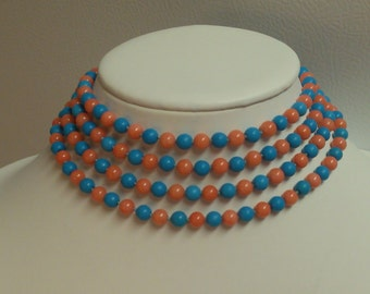 "ENDLESS - 45"", 48"", 55"", 60"", & 100"" - 6MM TURQUOISE and Pink Coral Necklace!! - Styles: Resort, Beach, Summer Fashions, Gatsby, Flapper"