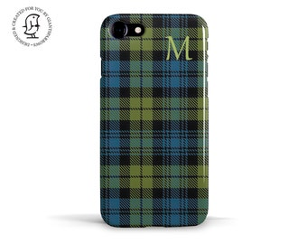 Personalised Monogram Campbell Clan, Tartan Fabric Design, reproduced for your iPhone case or Samsung case.