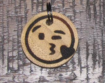 Personalised Winky Kiss Emoji Bamboo Pet ID Tag - Cat Tag - Pet Tag