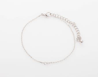 """10pcs - 6""""  Finished Bracelet Rhodium Chain with Lobster Clasp, 230 4dc chains ,Tail Chain, basic Chain  [FB-230-PR]"""