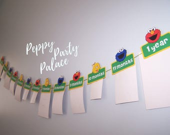 DIGITAL Elmo, Sesame Street Photo Banner, Elmo Banner, Sesame Street Party, First Birthday Banner, First Year, Elmo Party