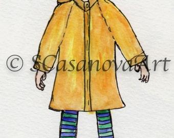 Coraline in a Raincoat - Art Print