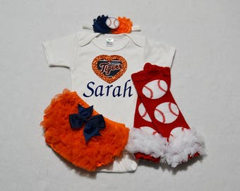 detroit tigers baby girl outfit - baby girl tigers outfit - girls detroit tigers baseball outfit - tigers baby girl gift - tigers baseball