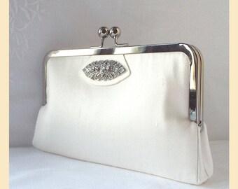 Wedding clutch, ivory silk Art Deco wedding purse, handmade bridal purse with diamante trim, silk handbag, optional personalisation