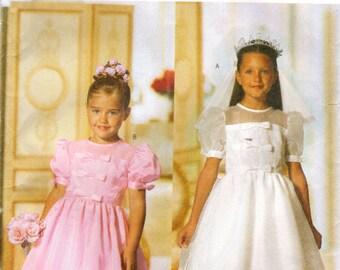 1990s Butterick 5900 Sewing Pattern Girl's Formal Dress, Evening Dress, Full Skirt Dress, Party Dress Size 6 - 7 - 8