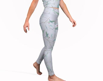 Printed Yoga Leggings - Light Blue Yoga Tights Performance Leggings Festival Tights Workout Pants Yoga Pants Pilates Leggings Designer