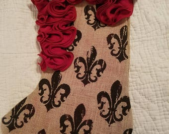 Christmas Stocking - Handmade Unique Fleur dis le with Red Ruffles and Vintage Brooch