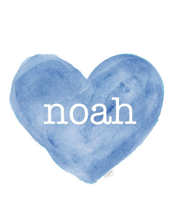Blue Baby Nursery Art with Personalized Name, 8x10 Print