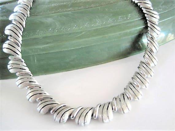 Crown Trifari Necklace, Brushed Silver Tone Choker, Vintage Trifari,  Hang Tag