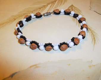 Glass Seed Bead and Natural Seed  Bracelet      Classic Simple   Island Made                     Free Ship in USA