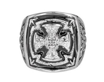 Gents Florenzada Cross Ring Stainless Steel Motorcycle Jewelry