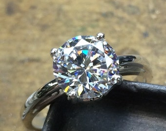 Engagement Ring, Diamond Engagement Ring, CZ Engagement Ring, Antique Setting, CZ Solitaire Ring