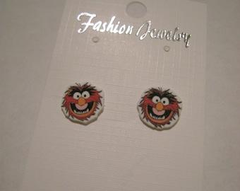 Animal Muppet inspired Pierced Earrings, handmade item, 1cm