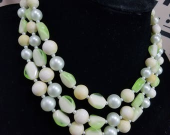 Lovely Triple Strand Beaded Necklace from Japan in Shades of White and Green