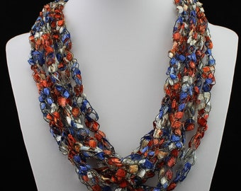 Ladder Yarn Crocheted Necklace - Trellis Yarn - Americana - Red,  Iridescent White and Blue with Sparkle