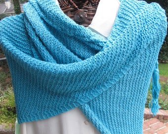 Turquoise Silk/Linen Hand-knitted Summer Shawl