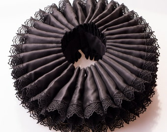 Elizabethan neck ruff, black neck ruff, Rennaissance neck ruff, Tudor, made to order theater costume collar