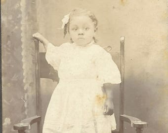 Vintage photographs cabinet photo Adorable African-American little girl