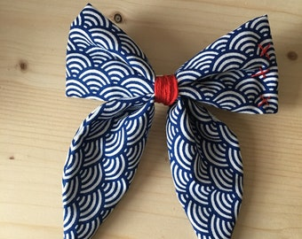 Big bow Japanese Chinese mind embroidered hair clip