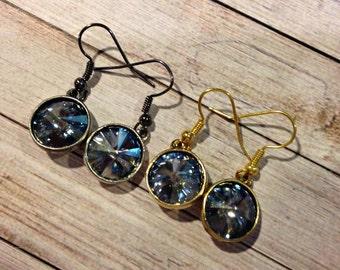 Denim Blue Swarovski Crystal Earrings, Light Sapphire Swarovski Crystal Earrings, Light Montana Blue Topaz Earring, September Birthstone
