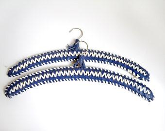 Vintage Hangers Boho Indie Hangers, Blue white finges plastic covered Hangers