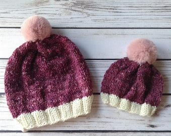 Pink Mommy and Me Hats, Wool Hats, Knit Hats, Big Sister Little Sister, Matching Hats, Knit Wool Hat, Purple Knit Hat