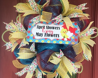 April showers bring May flowers. Spring wreath. Flower wreath. Spring decor.
