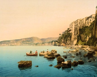 The cliff top town of Sorrento in the Bay of Naples c1900. Copy of vintage photochrom postcard