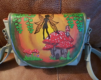Handpainted faux leather fairy bag
