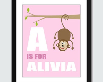 Monkey Hanging From a Tree Initial with Personalized Name Wall Art - 8x10 Baby Children Nursery Wall Print Poster