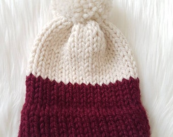 Knit Baby Hat/ Pompom Hat/ Baby Hat/ Baby Girl Hat/ Chunky Knit Hat/ Chunky Knit Baby Hat/ Knit Hat/ Winter Hat/ Color Block Hat