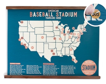 Baseball Stadium Travelers Guide with Stickers - 18x24 Bronze ink limited edition Screen-print