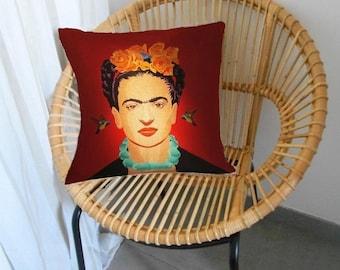 """Housse de coussin motif Portrait """"Frida Kahlo""""  No 8"""