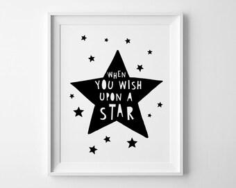 Printable wall art, Nursery print, When you wish upon a star, kids decor, scandinavian print, star printable, wall decor, baby wall art