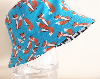 Boys hat in cute foxes fabric- summer hat, bucket hat