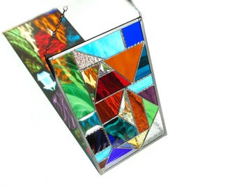 Geometric stained glass panel, abstract suncatcher, contemporary window art, triangles glass suncatcher panel, colorful modern home decor