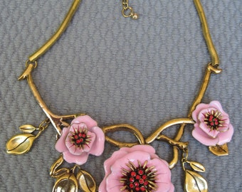 Sophisticated Pink Wild Rose with Gold Branches and Leaf Necklace