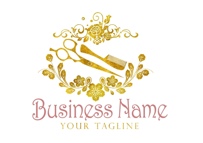 Beauty Gold Logo Custom Logo Design Gold Scissors Comb Logo