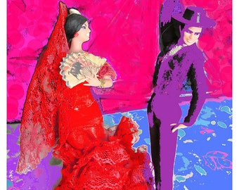 Flamenco Dancers Digital Art print Wall Unframed Art Home office Decor