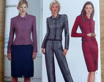 Butterick pants jacket skirt pattern, misses sewing pattern A 6 8 10 Uncut, pants pattern, woman suit pattern, jacket pattern sew career