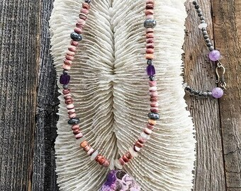 Spiny Oyster Necklace | Sea Jasper | Moonstone | Amethyst | Mystic Labradorite | Raw Gemstone | Bohemian