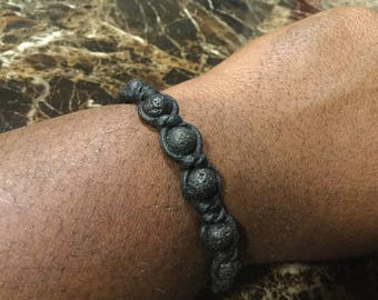8mm Lava Rock in Snake knot Bracelet