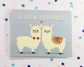 Alpaca Love Card, Alpaca Pun Love Card, Cute Valentine's Greeting Card, Romantic Llama Card, Cards with Puns,
