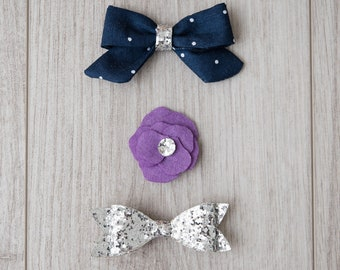 Fabric, Felt and Glitter Bows | girl bows | patterned bow | headband | purple bow | non slip clip | snap clip | flower bow | silver glitter