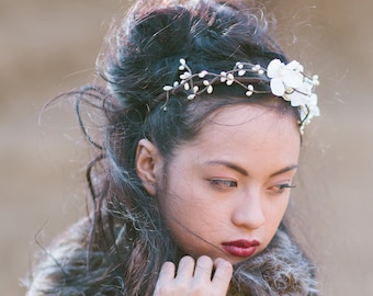 Woodland Flower Crown of Flowers and Ivory Berry,  Headband for Weddings, Floral Boho Wedding Hair Accessory