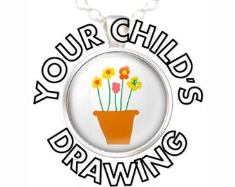 Kid's Artwork, Your Child's Drawing, Your Child's Artwork, Sidewalk Art, Kid's Drawing in a Pendant Necklace, Your Choice of Finish