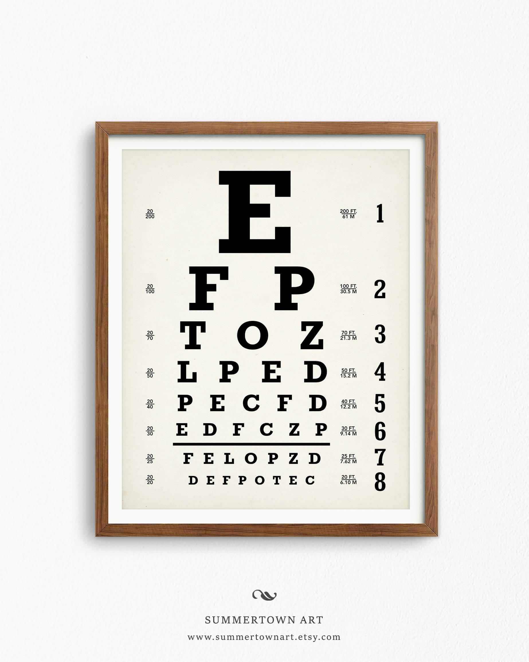 Eyechart art print digital download snellen eye chart poster zoom geenschuldenfo Image collections