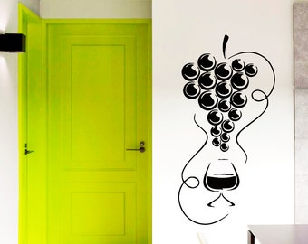 Wall Decals Wine Glass with Grapes Decal Vinyl Sticker Kitchen Decor Cafe Art Window Decals Chu1098
