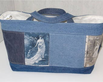 Cabanel recycled jeans, beautiful ladies lined cotton bag ecru with Pocket