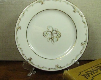 Vintage Noritake Esteem Bread and Butter Plate - Blue and Brown Scrolls